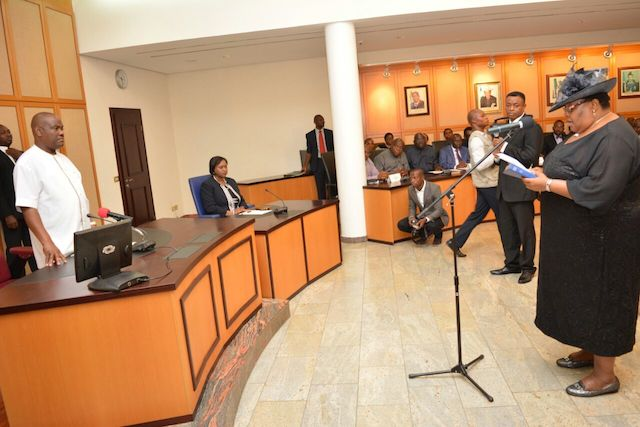 Wike at the swearing in for Justice Christy Gabriel-Nwankwo