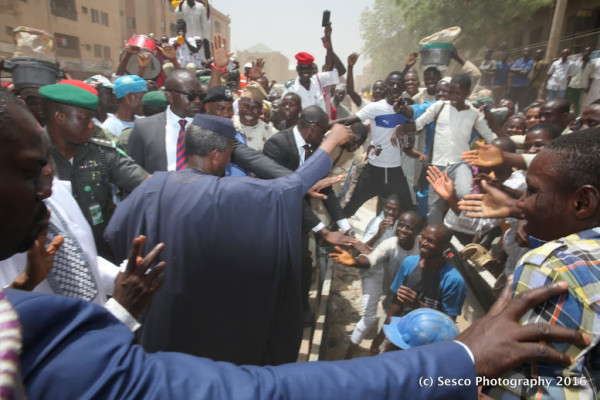 Osinbajo with the ecstatic crowd in Kano