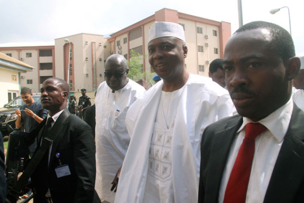 Saraki arriving at the CCT with very few senators in tow