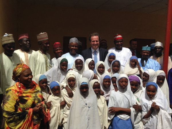 Nick Hurd in Kano  to check a school being funded by DFID