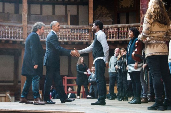 Obama greets an actor involved with the Shakespearean play Hamlet
