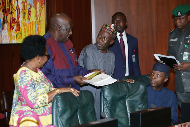 R-L; Vice President Prof Yemi Osinbajo, National security Adviser to the President, Brig general Babagana Monguno Rtd., SGF, Engr Babachir David Lawal and Head of Civil Service of the Federation, Mrs. Winifred Oyo-Ita during an emergency Federal Executive Council (FEC) meeting to look into the submitted 2016 budget at the State House in Abuja. PHOTO; SUNDAY AGHAEZE