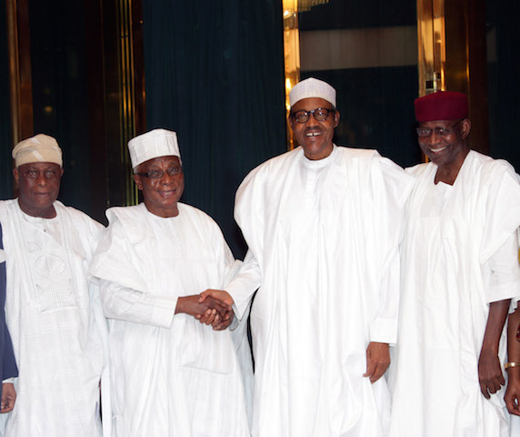 R-L;   Chief of Staff to the President, Mallam Abba Kyari, President Muhammadu Buhari  Foundation Chairman/Chairman Board of Trustees Council of Retired Permanent Secretaries, Chief Philip Asiodu and Otunba C.A Tugbobo during an audience with the President at the State House in Abuja. PHOTO; SUNDAY AGHAEZE.