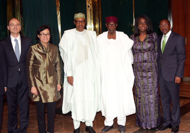 R-L;  CBN Governor, Mr Godwin Emefiele,  Minister of Finance, Mrs Kemi Adeosun, Chief of Staff to the President, Mallam Abba Kyari, President Muhammadu Buhari, MD/CEO World Bank Group, Ms. Sri Mulyani and Vice President World Bank Group, Mr Jan Walliser during an audience with the World Bank Group at the State House in Abuja. PHOTO; SUNDAY AGHAEZE.