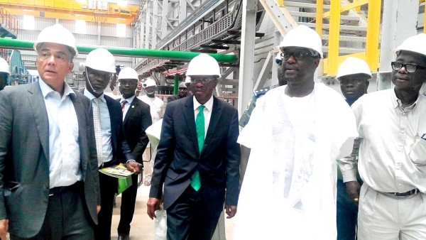 Mr. Paul Gbededo, Group Managing Director, Flour Mills of Nigeria Plc, FMN, (Right); Governor Sani Bello, Niger State Governor; Mr. Godwin Emefiele, Governor of Central Bank of Nigeria (CBN) and Mr. John Coumantaros, Chairman, FMN Group at the inspection of the multi-billion naira new Sugar Mill at Sunti Golden Sugar Estate in Mokwa LGA, Niger State at the weekend