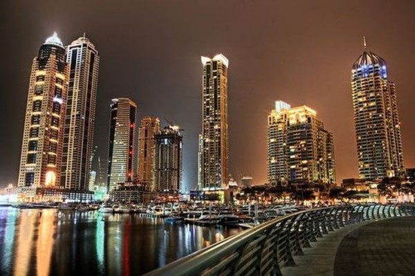 Dubai, one of the cities in UAE  at night