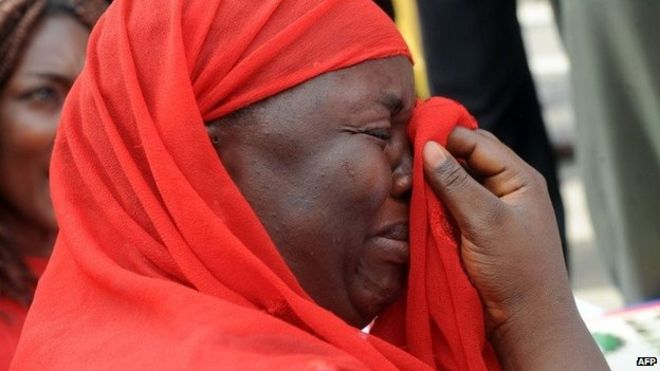 A Chibok schoolgirl mother in tears after a disappointing meeting with President Buhari