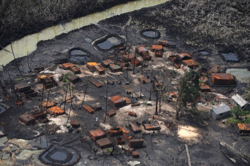 Illegal oil refinery destroyed by Joint Task Force at Nembe Creek in Niger Delta on March 22, 2013.