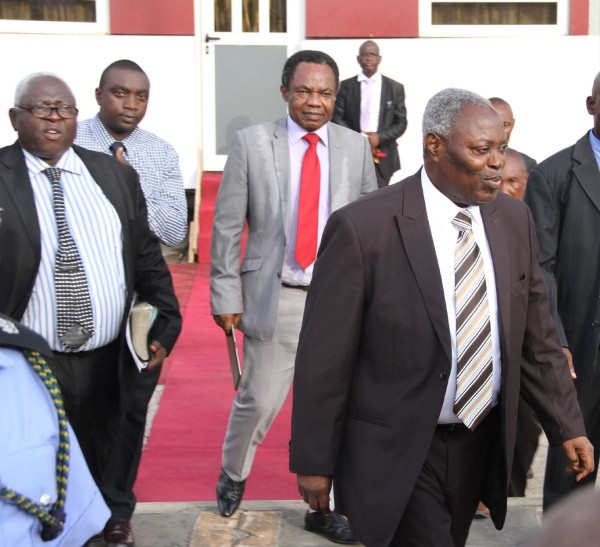 The General Superintendent of Deeper Christian Life Ministry, Pastor William Folorunso Kumuyi arriving  Tafawa Balewa Square, Lagos, for a special Revival Programme,   With him are the Church Secretary, Pastor Samuel Afuwape and the Church's Project Director, Pastor Jerry Asemota. On Sunday 24/4/2016.