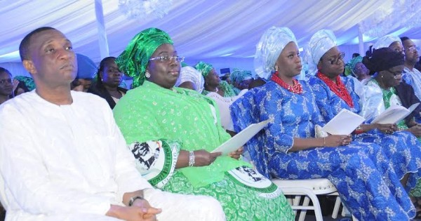 L:R secretary to the lagos state government, Mr Tunji Bello, lagos deputy governor, Dr Idiat Oluranti Adebule, daughters of the deceased, Mrs Ebun Adeosun and Mrs Olaolu Branco-Rhodes, wife of the late Dr Tunji Braithwaite, Dr Grace Braithwaite during the service of songs for late Dr Tunji Braithwaite at Grace Dome, yard 158 Oregun Ikeja