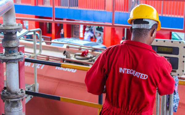 A worker at Integrated Oil and Gas