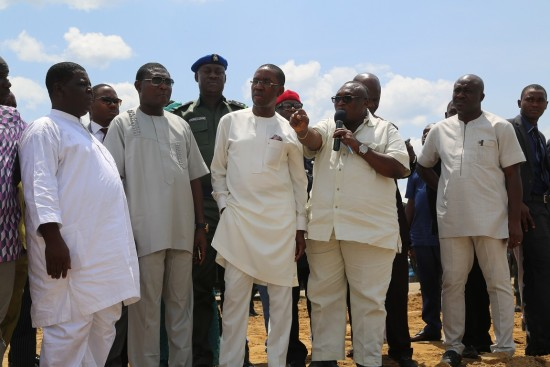 Gov. Okowa   and team during the inspection  of Warri-Sapele Road