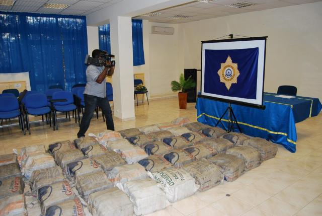 File: A journalist films drugs seized by Cape Verde's judicial police