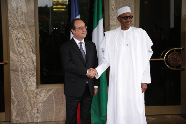 Hollande and Buhari in another photo pose