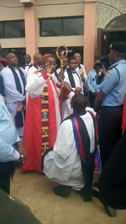 Archbishop Kattey officiating outside the church building 2