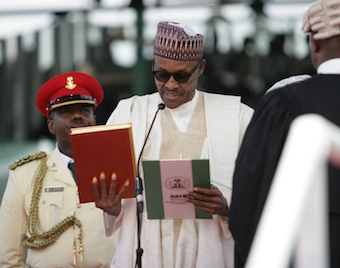 Buhari taking the oath of office on 29 May 2015