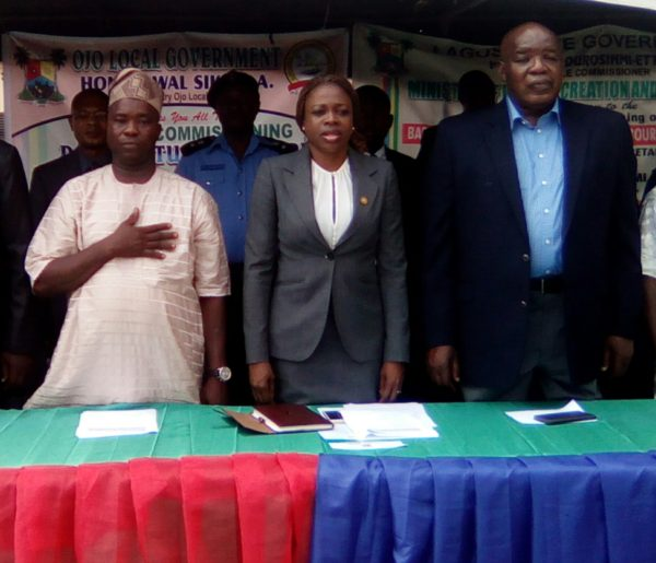 L-R: Mr. Lawal Sikirulahi, the Executive Secretary, Ojo Local Govt. Area, Mrs. Yetunde Afusat Onabule, Special Adviser to Gov. Akinwunmi Ambode on Urban Development and Mr. Babatunde Durosimi-Etti, Commissioner for Wealth Creation and Employment, during the formal commissioning of Data Capturing Centre of Unemployed in Badagry Division