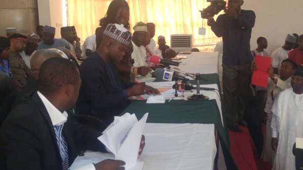 Governor Bello at inauguration of council caretakers
