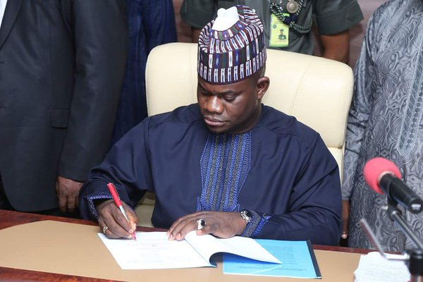 Governor Yahaya bello: signs the budget into law