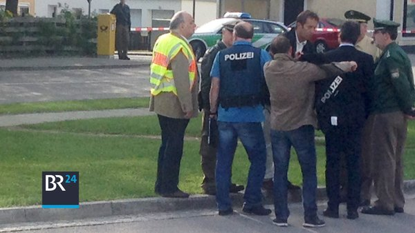 The German knife attacker surrounded by police