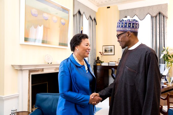 Buhari being received by Scotland