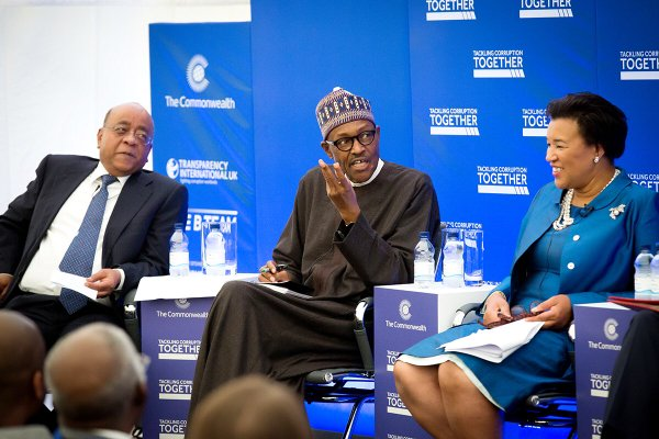 President Buhari and other panelists at the Commonwealth event. Right is Mrs Scotland, Commonwealth sec. general