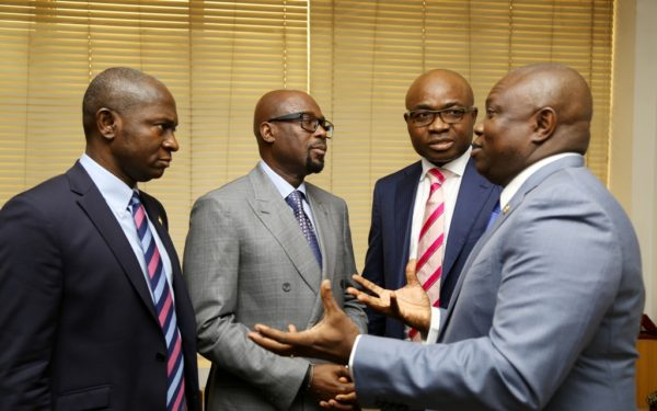 R-L: Ambode, with the Chief Operating Officer, Yinka Folawiyo Petroleum Company Limited, Mr. Mobolaji Musah; Group Managing Director of the Company, Mr. Tunde Folawiyo and Commissioner for Energy and Mineral Resources, Mr. Wale Oluwo during the courtesy visit