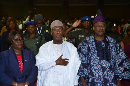 (L-R) Ogun State Deputy Governor, Mrs. Yetunde Onanuga; Minister for Agriculture and Rural Development, Chief Audu Ogbeh and Ogun State Governor, Ibikunle Amosun at function