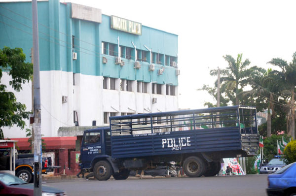 Police vehicle in front of PDP headquarters in Abuja