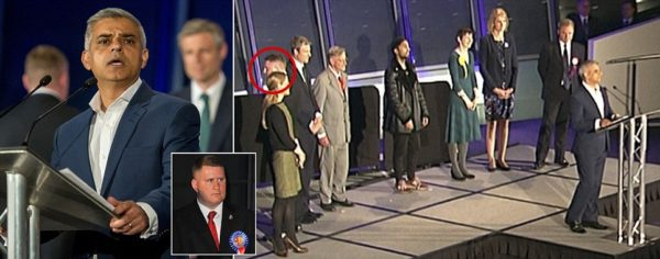 Golding (circled) turned his back on Khan as he read his victory speech: Credit: Daily Mail
