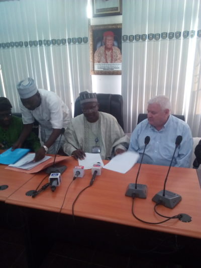 Brian Tarvis and Professor Ambali at the signing ceremony in Ilorin