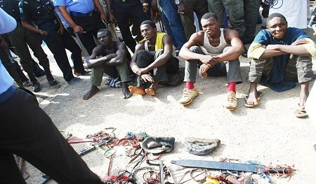 Kaduna kidnappers after their arrest in April