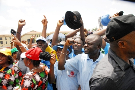 Lagos NLC workers complained that Lagos HOS, Olabowale Adebola,  represented Ambode who was unavoidably absent