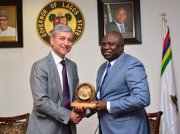 Lagos State Governor, Mr. Akinwunmi Ambode (right), presenting a state plaque to President, Microsoft International, Mr. Jean-Philippe Coutois during a courtesy visit to the Governor, at the Lagos House, Ikeja on Monday, May 16, 2016.