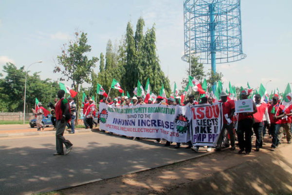 NLC leaders on a protest march in Abuja on Thursday. Photo: Femi Ipaye