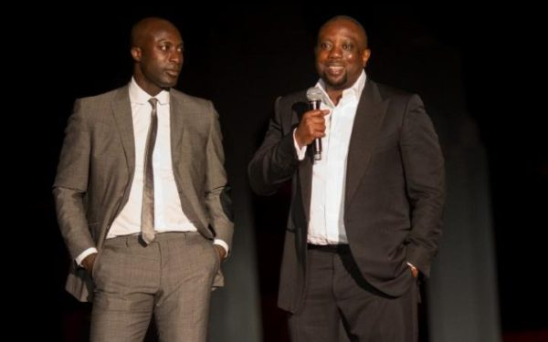 Ozwald Boateng, left, and Kola Aluko at a banking award ceremony in Morocco in 2013 Credit Didier Baverel