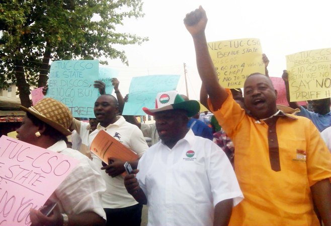 Godwin Anya, right, at a recent NLC-TUC protest in Makurdi