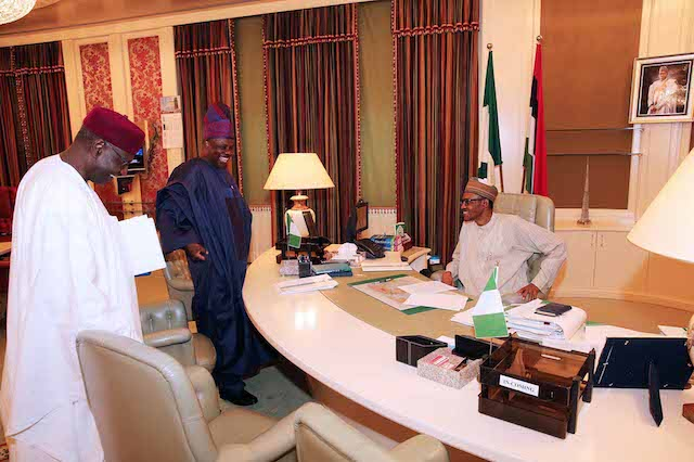 Amosun arrives with Chief of Staff, Abba Kyari(right)