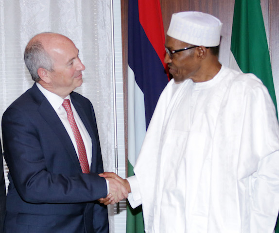 President Muhammadu Buhari and Shell Global Upstream Director, Mr. Andrew Brown during an audience with the President at the State House in Abuja. PHOTO; SUNDAY AGHAEZE