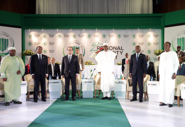 President Buhari and other leaders at the regional security summit at Transcorp Hilton, Abuja
