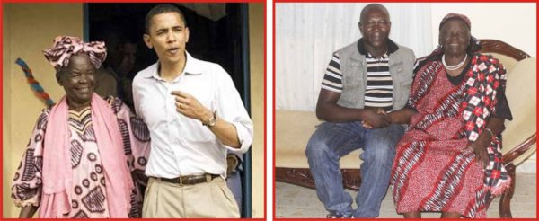 Raphael James (right photo) with Mama Sarah the grandmother of American President Obama (in the left photo with the woman)
