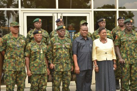 L-R: Chief of Air Staff, Air Marshal Abubakar; Chief of Naval Staff, Vice Admiral Ibok Ibas; Chief of Defence Staff, General Abayomi Gabriel Olonisakin; Rivers State Governor, Nyesom Ezenwo Wike, Deputy Governor Ipalibo Banigo and Chief of Army Staff, Lt General Tukur Buratai  after a meeting  at Government House, Port Harcourt on Monday.