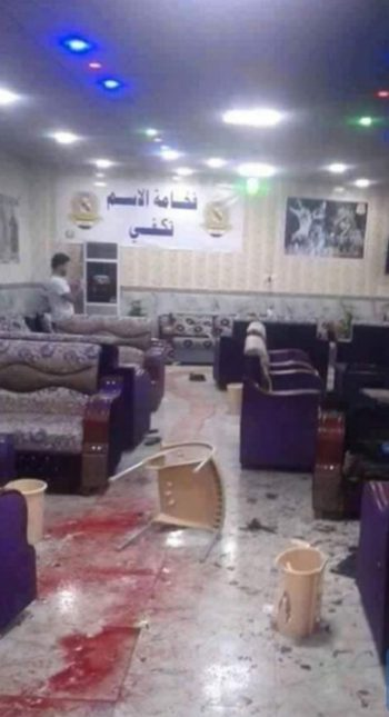Blood stains at Balad cafe where the shooting occurred