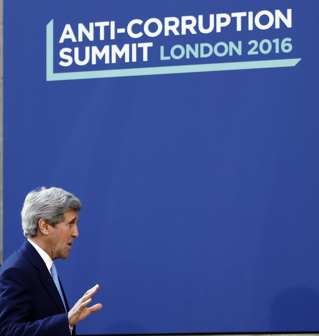 US Secretary of State John Kerry at the Anti-Corruption Summit in London, Thursday