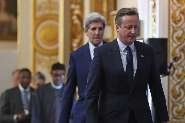 Cameron, right, followed by U.S. Secretary of State John Kerry arrive to open the summit