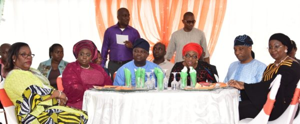 """Governor Ambode (3rd left); Chief Judge of Lagos State, Justice Olufunmilayo Atilade; Deputy Governor, Dr. (Mrs.) Oluranti Adebule; wife of Lagos State Governor, Mrs. Bolanle Ambode; Secretary to the State Government, Mr. Tunji Bello and his wife, Prof. Ibiyemi during the 2016 International Day of Families themed """"Families, Healthy Lives and Sustainable Future"""", at the Lagos House, Ikeja, on Sunday, May 15, 2016"""