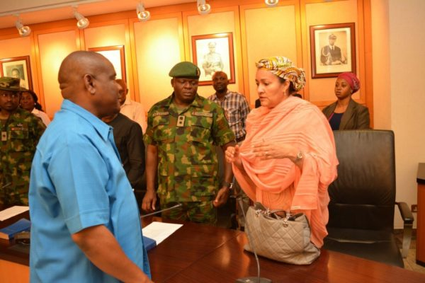 Rivers State Governor, Nyesom Ezenwo Wike and Minister of Environment, Hajia Amina Mohammed during  the  visit of the Minister  to the Government House, Port Harcourt on Thursday.