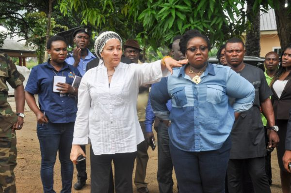 Amina Mohammed (left) inspects a clean-up demonstration site in Bodo, Gokana Local Government Area of Rivers State, on Sunday, accompanied by Mrs. Ibim Semenitari, (right)