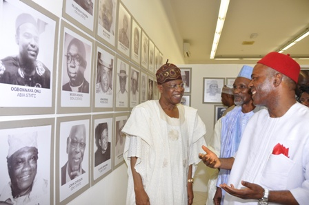 Minister of Information and Culture, Alhaji Lai Mohammed, Chief Justice of Nigeria, Justice Mahmud Mohammed and the Minister of Science and Technology, Dr. Ogbonnaya Onu at a historical photographic exhibition in Abuja