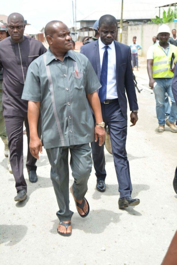 Rivers State Governor, Nyesom Ezenwo Wike inspecting the completion  stages of Supreme  Church Road in Borikiri,  Port Harcourt
